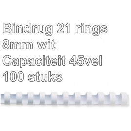 Bindrug GBC 6mm 21rings A4 blauw 100stuks