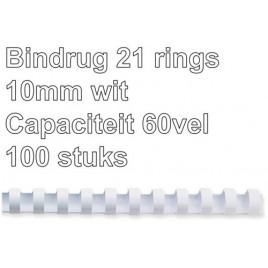 Bindrug GBC 10mm 21rings A4 wit 100stuks