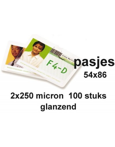 Lamineerhoes GBC creditcard 54x86mm 2x125micron 100stuks